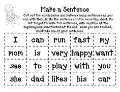 Make a Sentence Game for Kindergarten... Great for morning work!