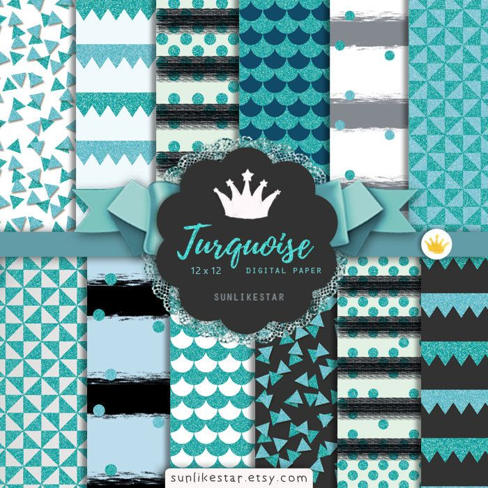 Turquoise Teal Glitter Digital Paper: Digital Scrapbook Paper | turquoise background, teal background, glitter confetti, background, blue by SunlikeStar on Etsy #texture #scrapbooking #digital