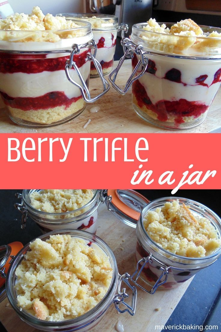 Berry trifle in a jar; layers of vanilla custard, booze soaked sponge cakes and berry jam, a classic British dessert made portable!