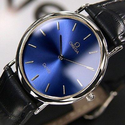 Omega De Ville Quartz Mens Blue Dial Swiss Made Antique Vintage Rare Used Watch