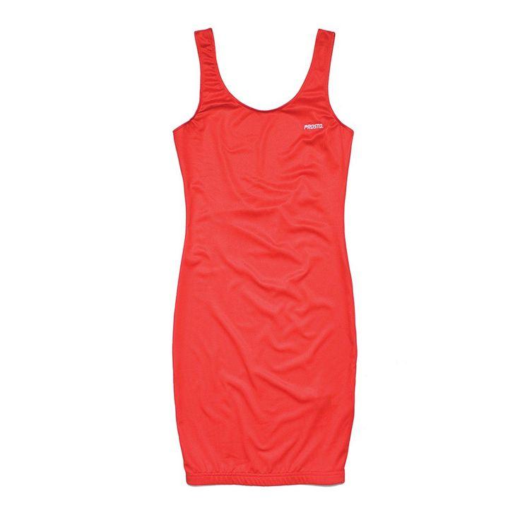 Sukienka TIGHT RED Prosta obcisła sukienka z lycry. Na piersi mały haft z logo Prosto.