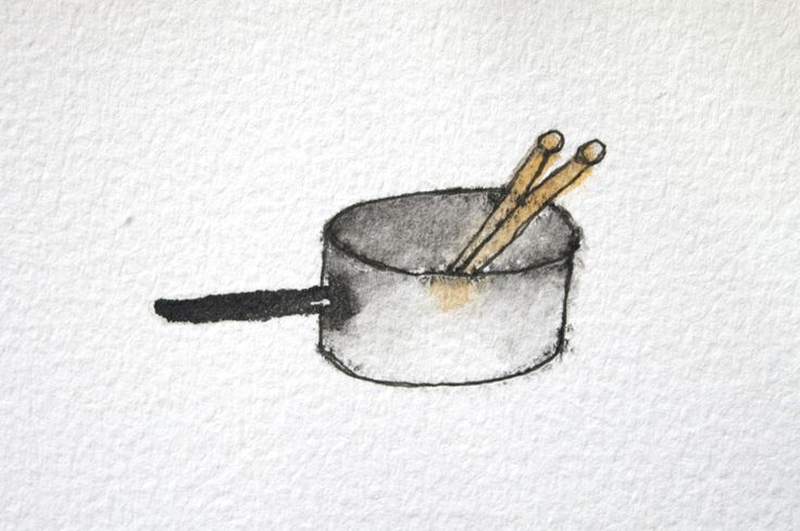 Pearl Barley & Charlie Parsley pot & drum sticks illustration for Aaron Blabey