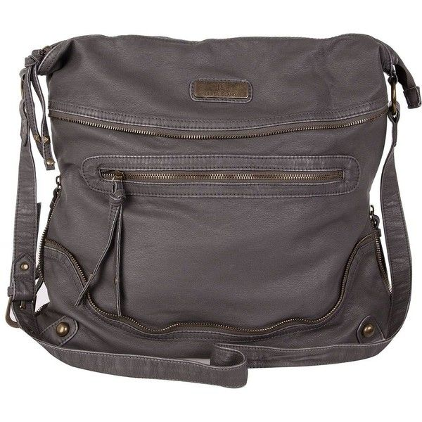 River Island Grey Oversized Messenger Bag ❤ liked on Polyvore