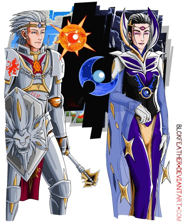 My Gijinka (Humanization) concept of Pokemon Solgaleo and Lunala from Pokemon Sun and Moon by:Game Freak, The Pokemon Company, and Nintendo Solgaleo, as a Solar Knight Lunala as the Moon Witch *My ...