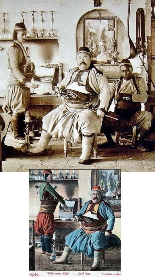 (Original photograph + coloured version of) Warrior-type men in their typical costume, inside a coffee-shop.  Istanbul, late 19th c.  These men, mostly born in families with a martial tradition, could become either highwayman, either bodyguard or 'başıbozuk' (irregular soldier in the Ottoman army).