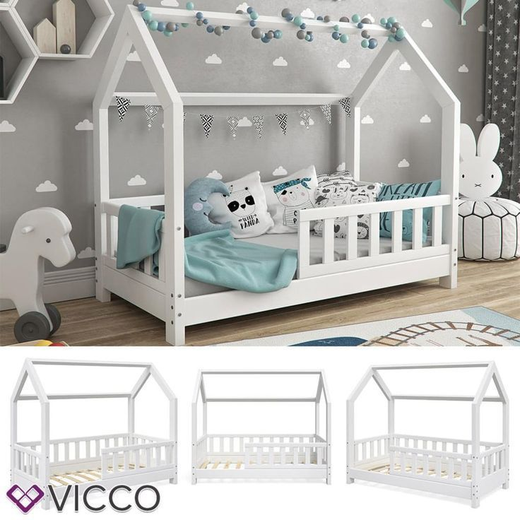 Vicco House Bed Wiki 70x140cm Fence White Cot Children S House