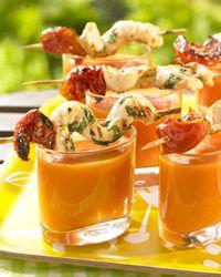 Recept » Colruyt Culinair (gazpacho met kippenbrochette)