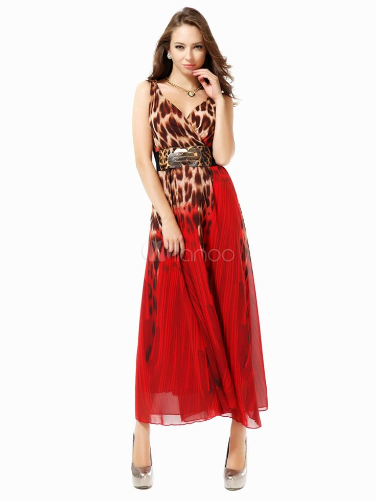 Vestido largo de chifón rojo con estampado de leopardo - Milanoo.com
