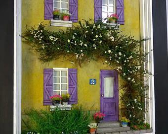 Casa de muñecas, miniaturas 1/35 modelo casa frente Diorama, escultura, arte de pared