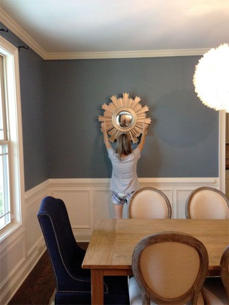 "Dina from Honey and Fitz blog mentions the MarthaMirrors™ Nova Starburst Round Wall Mirror in her ""Things You Should Know About: Vol 8"" post. Available @JCPenney.Dining Room, Blue Wall"