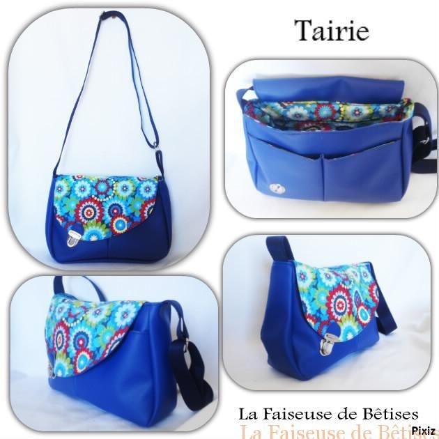#besace #Tairie bleu roi et tissu coton imprimé fleuri #Couture