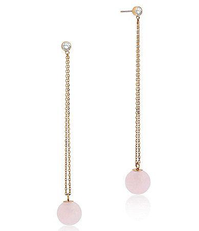 Michael Kors Rose Quartz SemiPrecious Rose Quartz Stainless Steel Linear Drop Earrings #Dillards