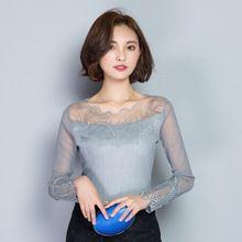 Женская мода Блузки Топы Тонкий Сексуальные женщины рубашки Кружева Блузка одежда blusas С Длинным Рукавом Рубашки Женщины(China (Mainland))