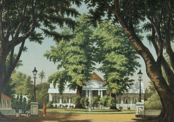 Litho naar een oorspronkelijke aquarel van J. Rappard.. Het huis van de resident in Yogyakarta (1883-1889).