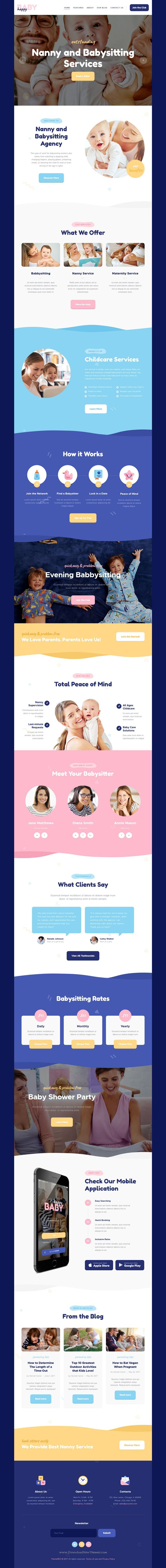 Happy Baby is clean and modern design 3in1 responsive #WordPress theme for stunning #nanny, #babysitter and #babyshower agency website download now..