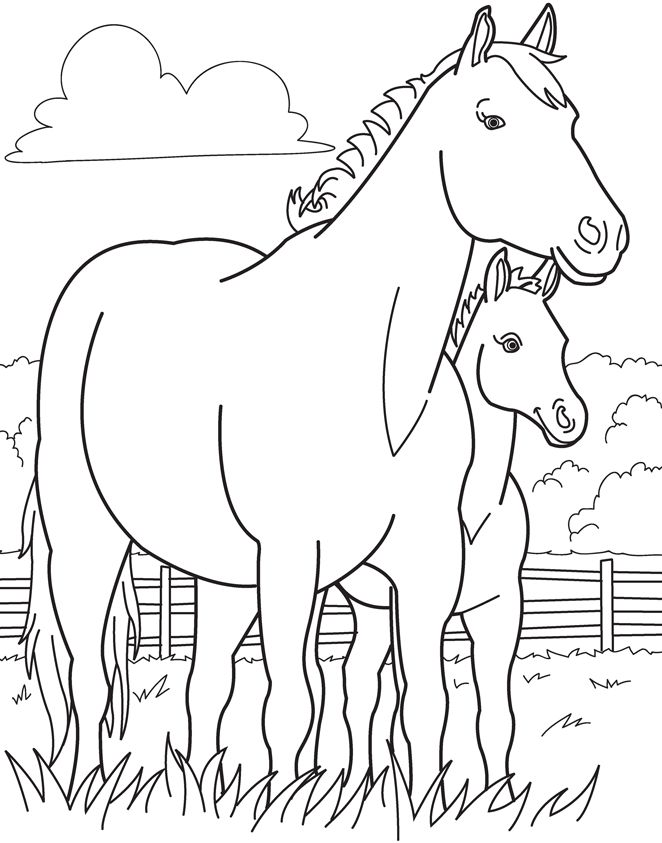 coloring sheet for the horse party