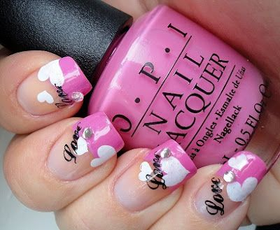 Pink tips french manicure white heart Love script nail art Free hand??????