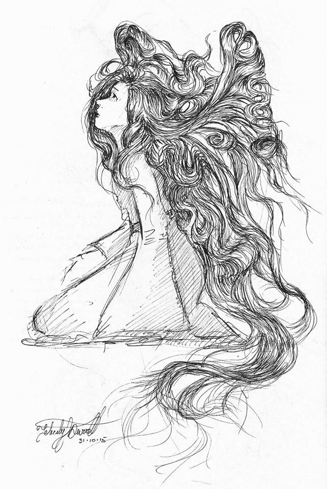 Fairy girl ink drawing. #inktober 31