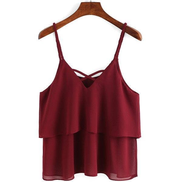 Braided Crisscross Layered Chiffon Cami Top ($9.99) ❤ liked on Polyvore featuring tops, burgundy, red cami, red top, red tank top, chiffon tops and red tank