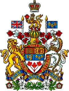 """Coat of Arms of Canada - Motto: A MARI USQUE AD MARE (""""From Sea to Sea"""", taken from Psalm 72: """"He shall have dominion from sea to sea"""").   Annulus behind the shield bears the Motto of the Order of Canada: Desiderantes Meliorem Patriam (""""They desire a better country"""")."""