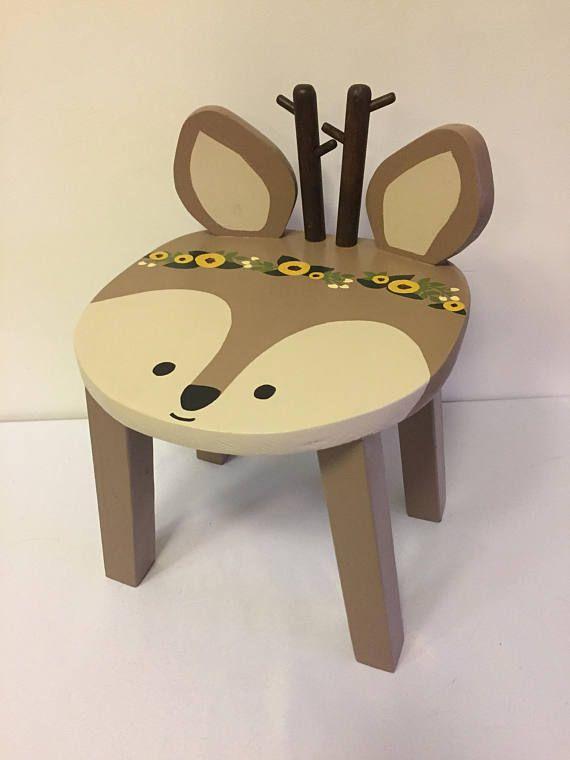 Woodland animal stool | Reindeer Deer hand painted wood kids chair | Children's furniture | Boho Tribal nursery