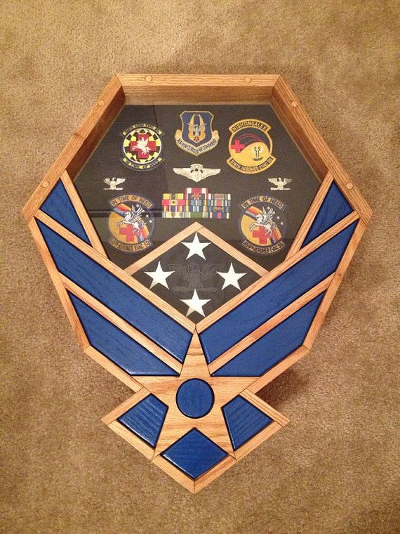 Handcrafted Air Force Falcon Shadow Box Oak & Blue