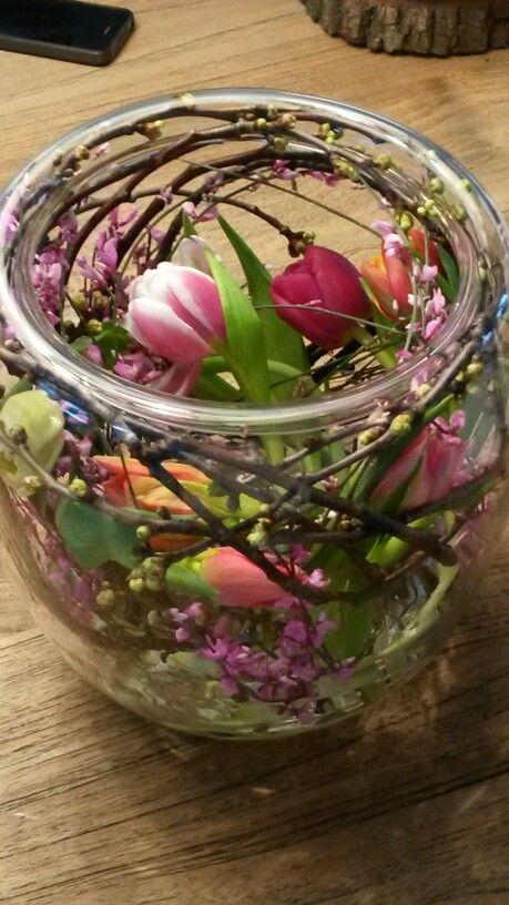 made by me. tulips brem en twigs