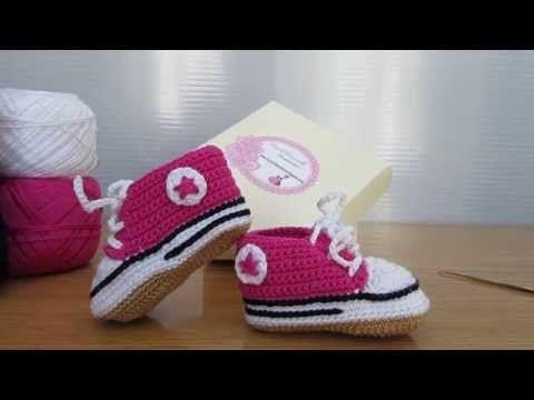 Fantastiche scarpette stile Converse realizzate a mano ad uncinetto. Coccinelle Creative tutorial. - YouTube