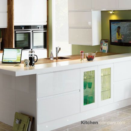 Homebase - Hygena Arletta White Sleek and contemporary, Arletta White's handleless doors and white gloss finish create a luxuriously minimalist feel. Visit our website for more information - http://bit.ly/1Q55O1C