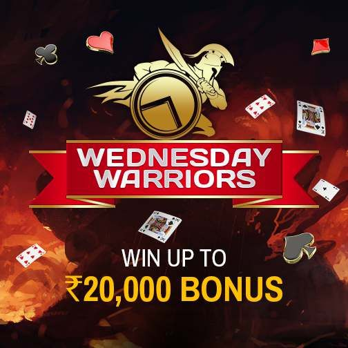 Be a Warrior today and Win Big in Real Cash! Win more than Rs.5000 today and get a bonus of up to Rs.20,000 on your winnings.  Start Winning! #Rummy #Bonus