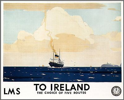 LMS To Ireland 1924 Vintage Travel Poster http://stores.ebay.com/Vintage-Poster-Prints-and-more