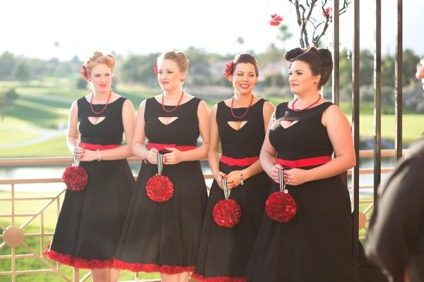 Vintage inspired bridesmaids | Punk Rock Wedding at Canyon Gate Country Club from Red Velvet Weddings | Featured on Little Vegas Wedding