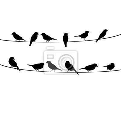 """Sticker """"erholsam, schattenbild, sitzend - vektor-vogel- n auf draht sitzen"""" ✓…"""