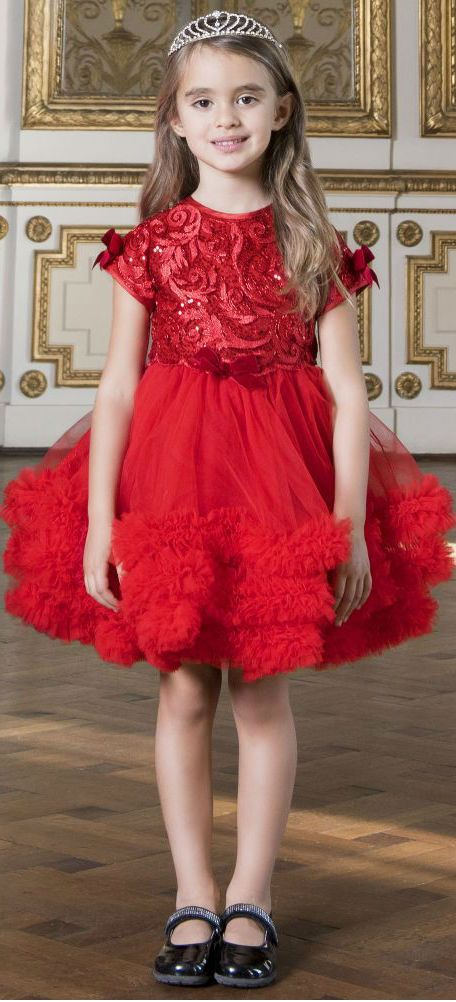 Adorable! Love this Princess LESY Girls Red Tulle Party Dress. Perfect for Christmas. #kidsfashion #girl #dress #party