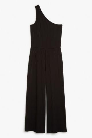 Monki One-shoulder ribbed jumpsuit in Black