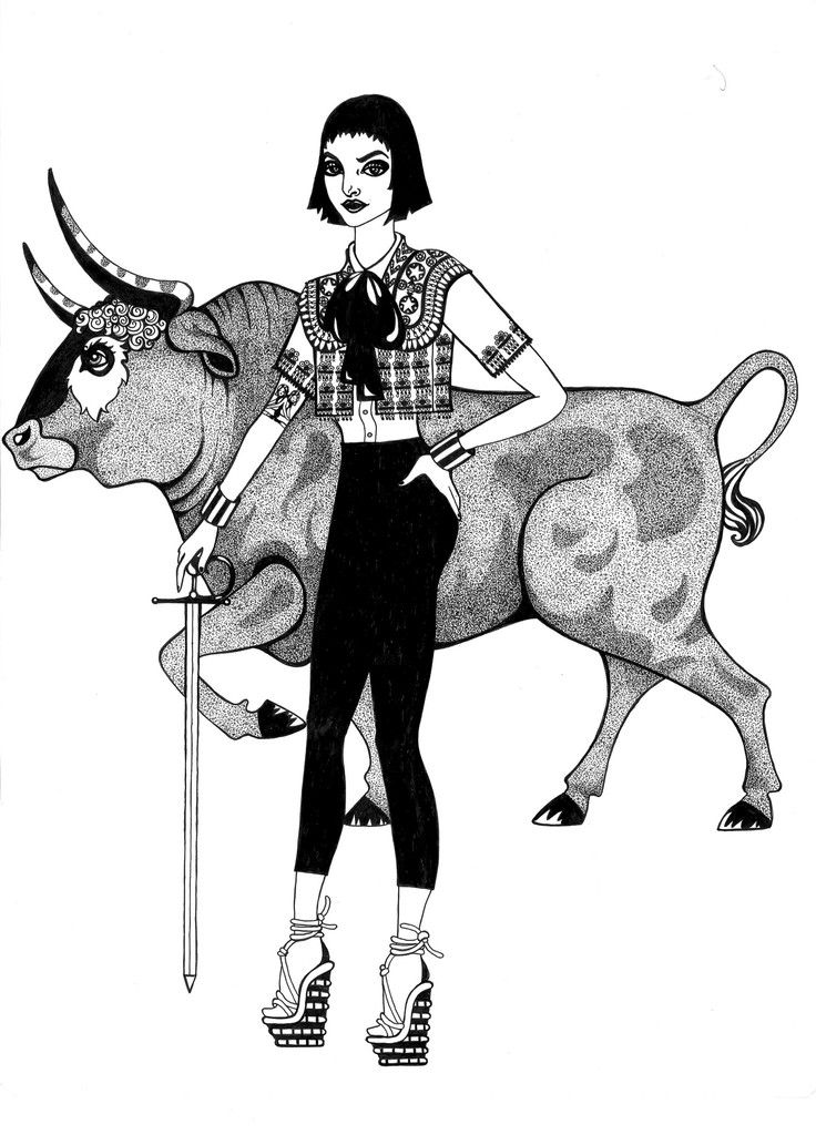 Kunst plakat // Limited edition art print // 'Bull Lady'by Ida Svenungsson