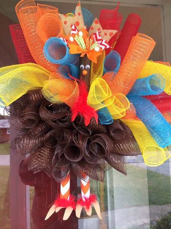 Thanksgiving mesh wreath | Turkey mesh wreath by fabulousfoofoos on Etsy