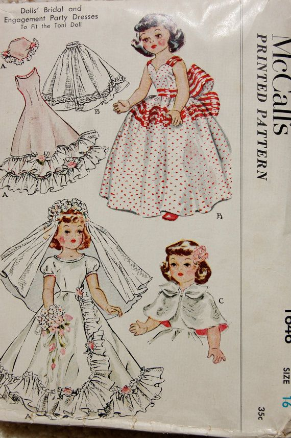 McCall's 1646 Vintage Sewing Pattern designed to fit Toni Doll