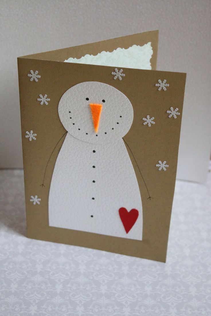 Handmade Christmas postcard#Snowman