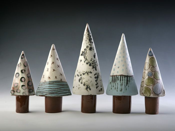 linda bristow -- Pointed Trees - height varies 15cm to 25cm tall