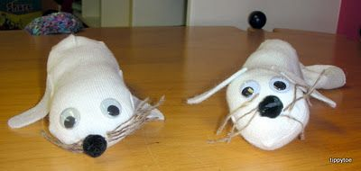 Tippytoe Crafts: Polar Animals-- Harp Seal Pups made from socks.