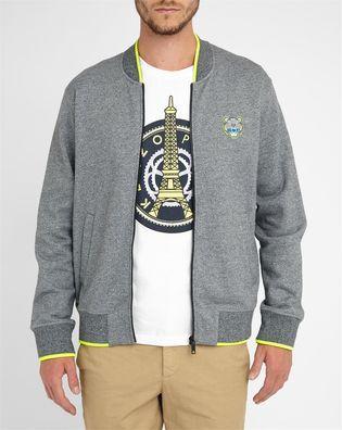 Sweat Shirt Zippé Gris Anthracite Liseret Jaune Logo Tigre KENZO
