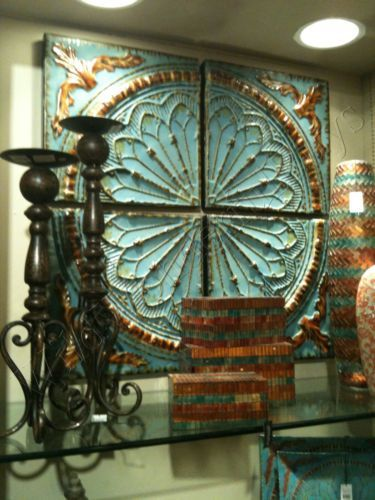 Tuscan Aqua/Turquois Blue Quarter MEDALLION WALL ART Metal Panels NEW (love shelf decor too and all of this together though)
