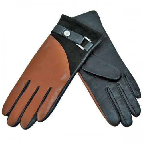 These Cadelle Leather gloves have been designed in Australia and crafted with uncompromising quality by expert leather manufacturers.  100% leather gloves with contrast leather panel. Features a suede leather finish at wrist on the top side of glove and buckle detail.  Main: 100% leather  Lining:  acrylic/wool blend