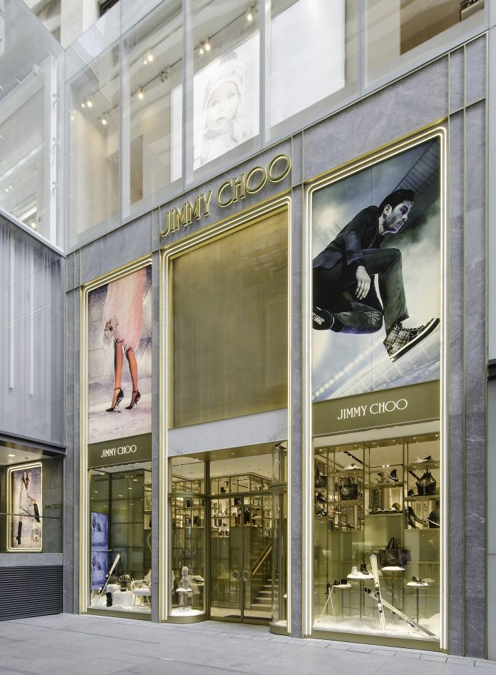 Jimmy Choo's 157-square-meter flagship in Harbour City, Hong Kong is a two-level, dual gender store that introduces itself with a double height façade.