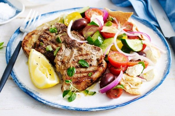 For a quick and easy 30 minute meal, try these juicy lamb chops served with a fresh Greek fattoush salad.