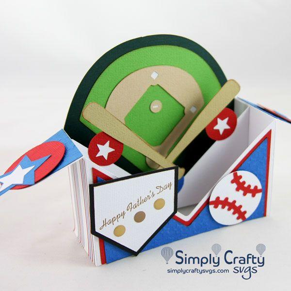 At The Ballpark Box Card Svg File Simply Crafty Svgs Baseball Card Displays Card Box Baseball Card Template