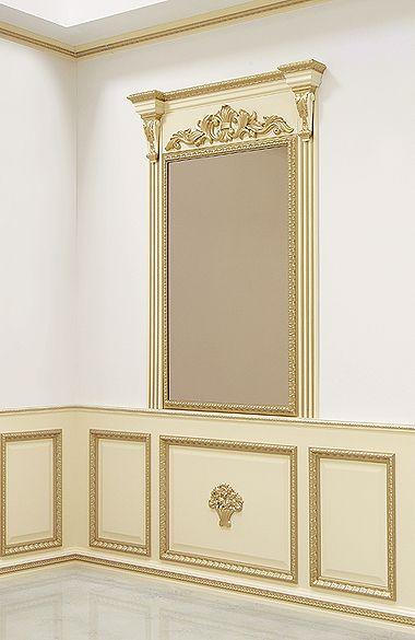 """Стеновая панель. Отделка """"слоновая кость"""", багет """"Античный"""" желтое золото, """"Готика"""" желтое золото #дверирулес #стеновые #панели #русский_лес #зеркало"""