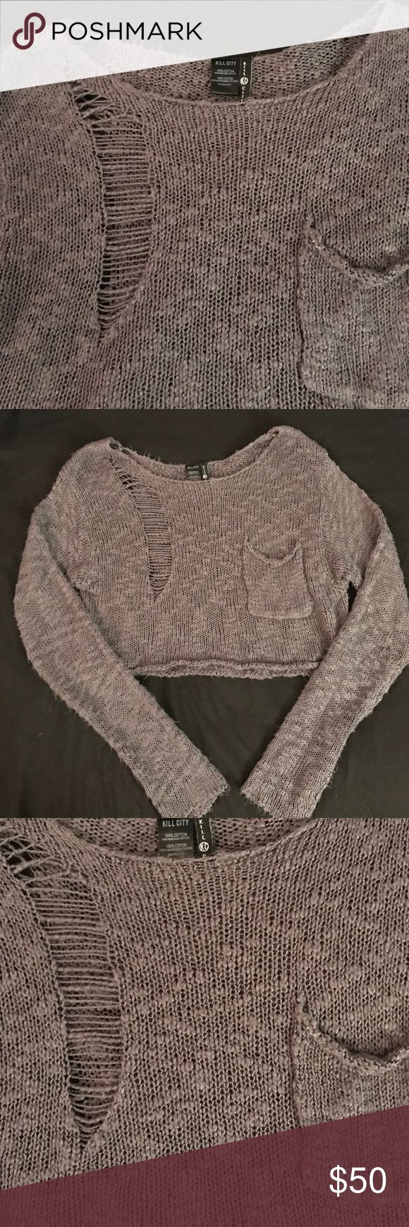 Kill City Cropped Distressed Sweater Super soft, breathable cropped sweater by Kill City. Deliberately pulled seams on front and back. Looks best slouchy! Kill City Tops Crop Tops