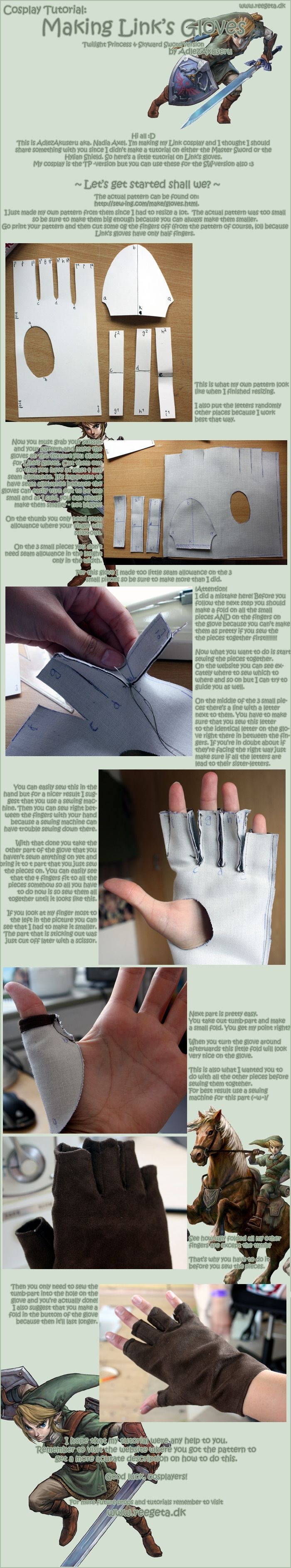 Tutorial: Link's Gloves, I have a Link costume but the gloves are really bad and look fake/plastic.. I should make these before the next Halloween...! <3